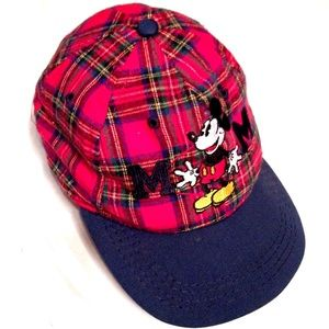 Vintage 90s Plaid Flannel Mickey Mouse Cap